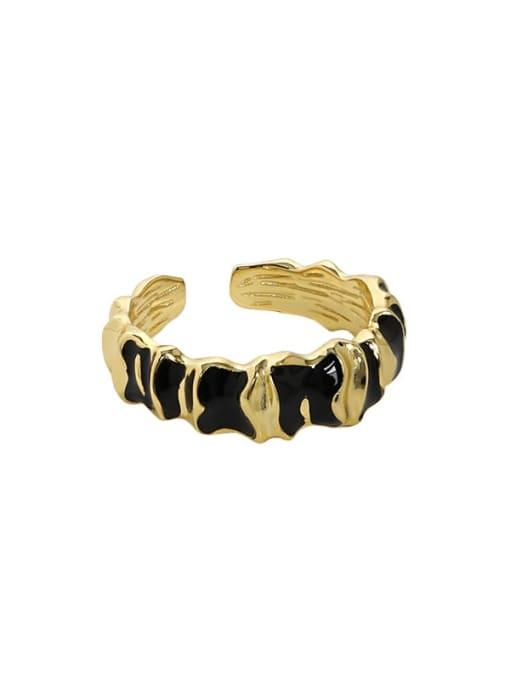 Gold [14 adjustable] 925 Sterling Silver Geometric Vintage Band Ring